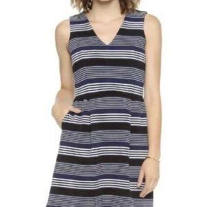 Madewell Gallerist Ponte V Neck Dress Stripe Mix S
